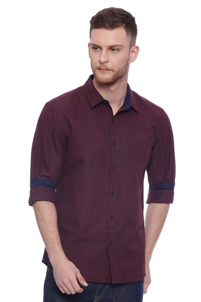BASICS SLIM FIT PUCE MAROON COTTON LINEN SHIRT-18BSH37157 (4491030822993)