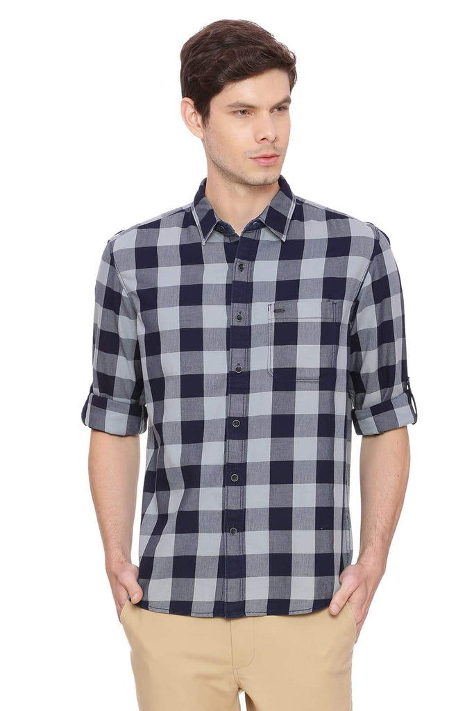 BASICS SLIM FIT PURITAN GREY CHECKS SHIRT-18BSH38580 (4491238047825)