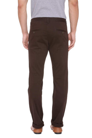 Basics Slim Fit Raven Brown Stretch Trouser Front