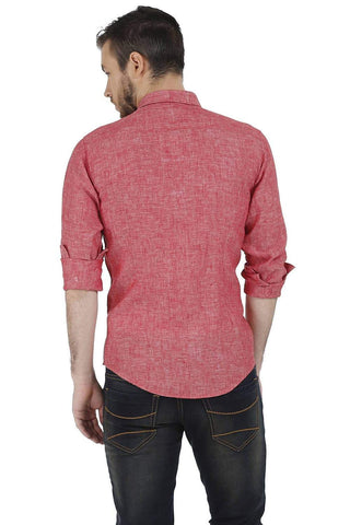 BASICS SLIM FIT RED CHAMBRAY LINEN SHIRT-17BCSH38219 (4490922950737)