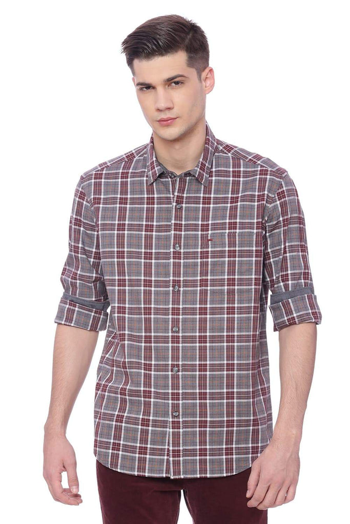 BASICS SLIM FIT RED MAHOGANY MELANGE CHECKS SHIRT-18BSH37376 (4491066671185)