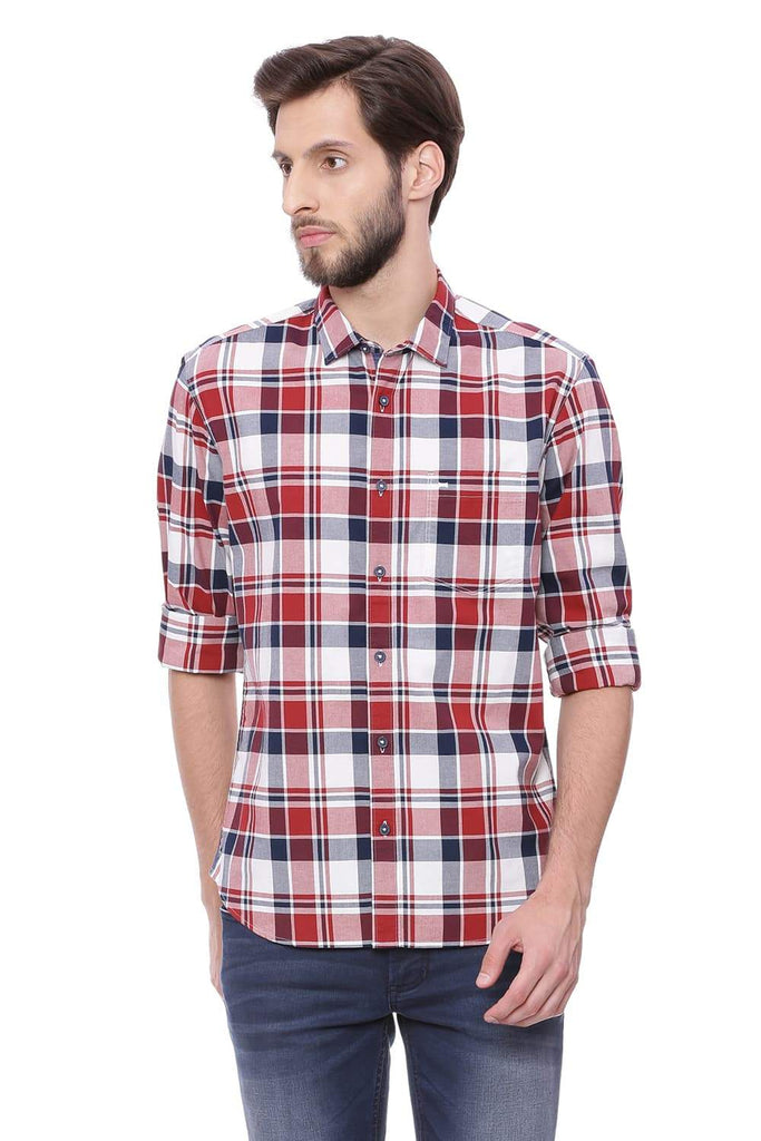 BASICS SLIM FIT RED OCHRE CHECKS SHIRT-18BSH38876 (4491451072593)
