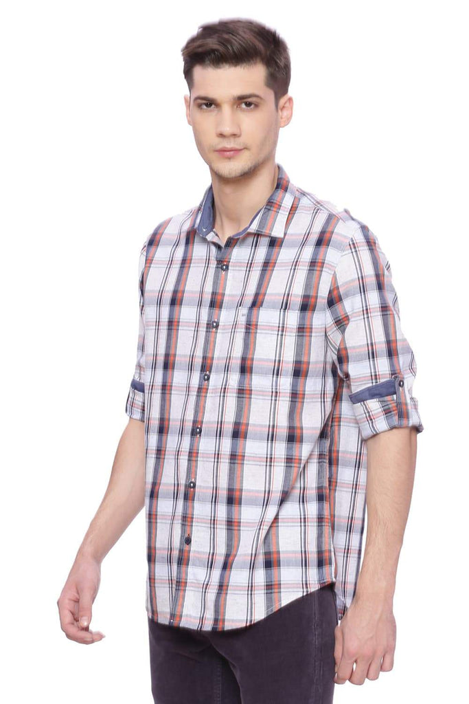 Basics Slim Fit Red Orange Checks Shirt Front