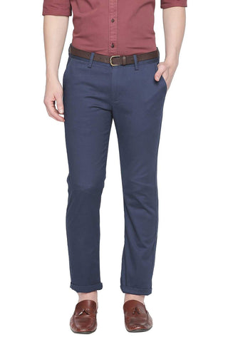 BASICS SLIM FIT REFLECTING POND PRINTED STRETCH TROUSER WITH BELT-19BTR41841
