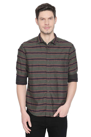 BASICS SLIM FIT RIFLE GREEN WEFT STRIPES SHIRT-19BSH42141 (4491715608657)