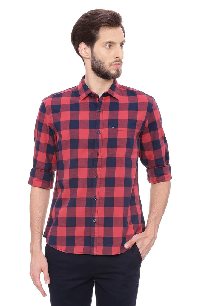 BASICS SLIM FIT ROCOCCO RED CHECKS SHIRT-18BSH38782 (4491374854225)