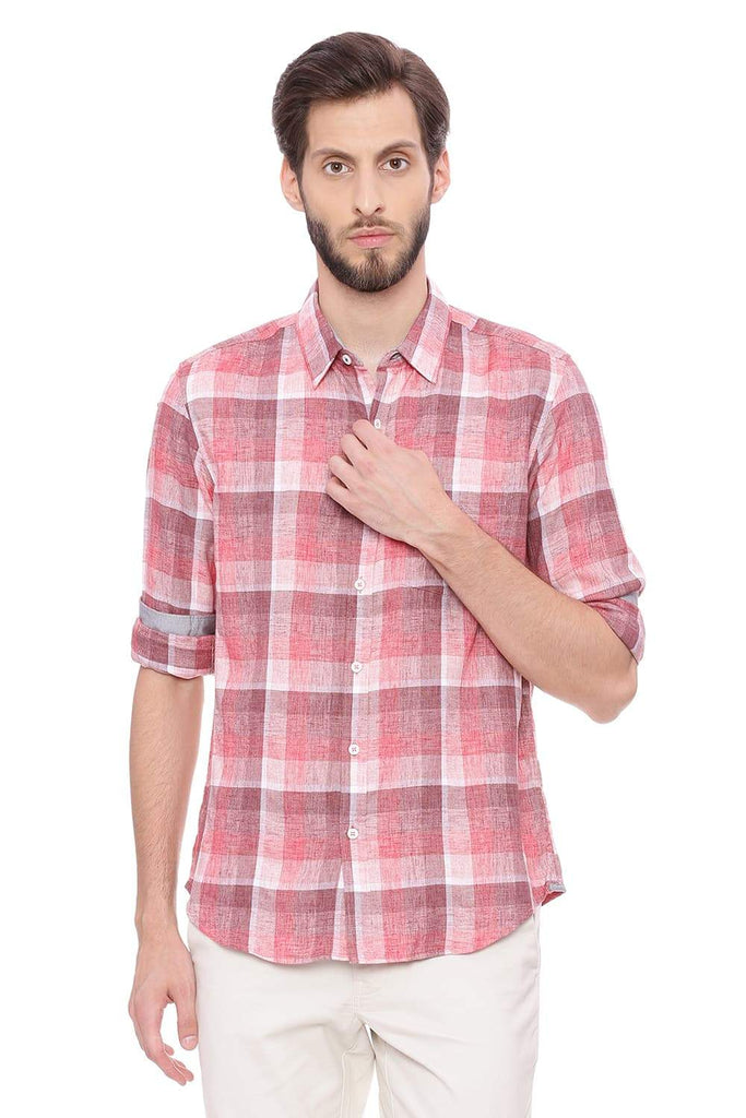 BASICS SLIM FIT ROCOCCO RED CHECKS SHIRT-18BSH38817