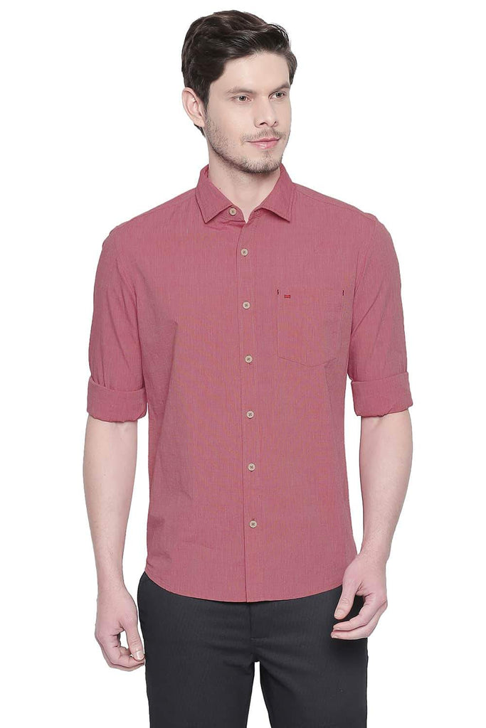 BASICS SLIM FIT ROCOCCO RED FIL A FIL SHIRT-20BSH42991 (4491865129041)