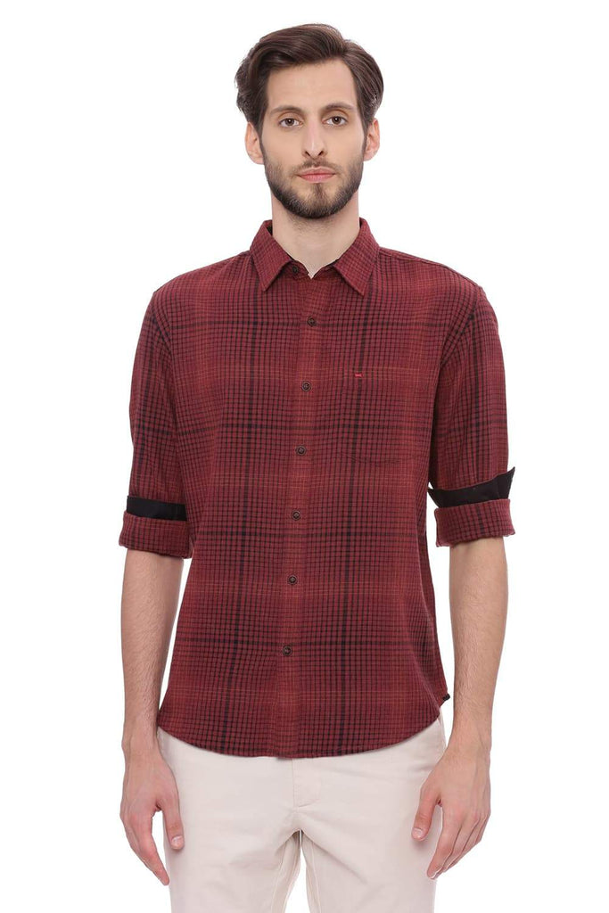 BASICS SLIM FIT RUBY RED CHECKS SHIRT-18BSH38821