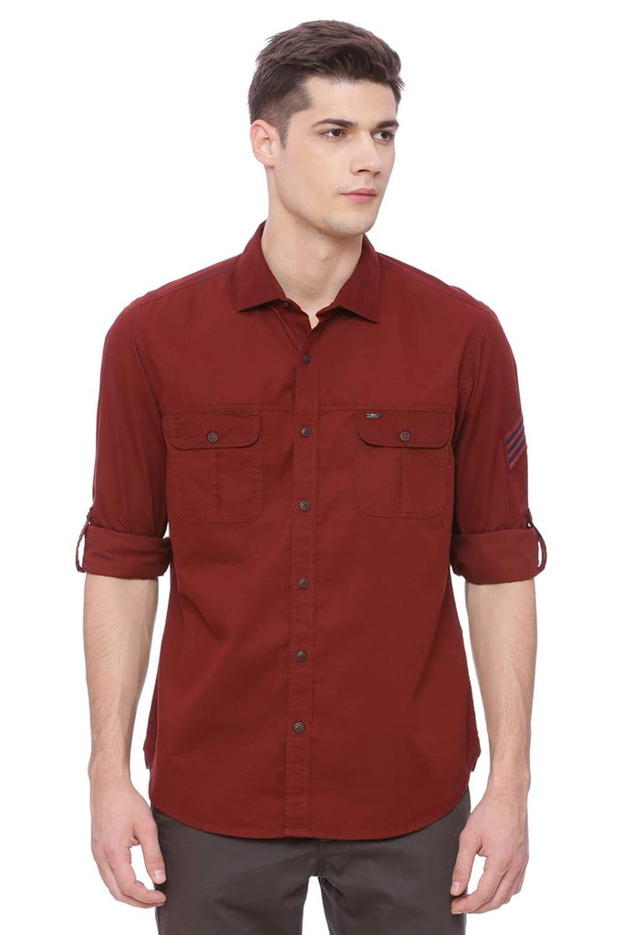 Basics Slim Fit Ruby Red Shirt Front