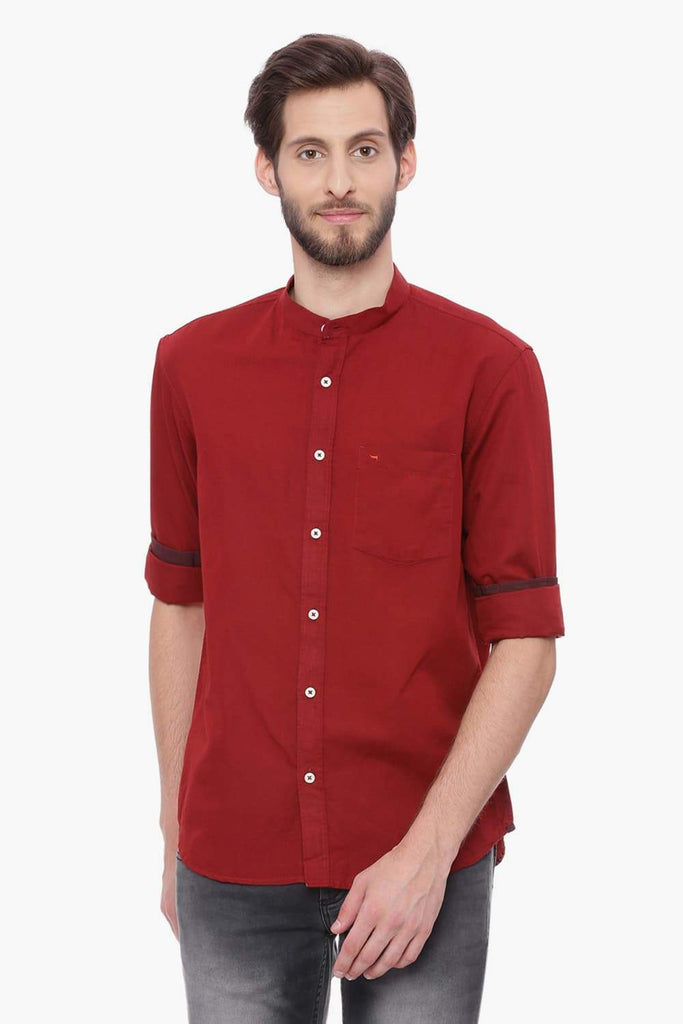 Basics Slim Fit Ruby Wine Red Cotton Linen Shirt Front
