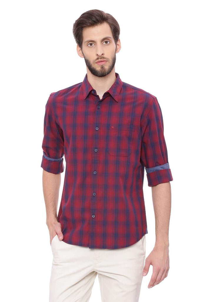 BASICS SLIM FIT RUSSET RED CHECKS SHIRT-18BSH38889 - BasicsLife