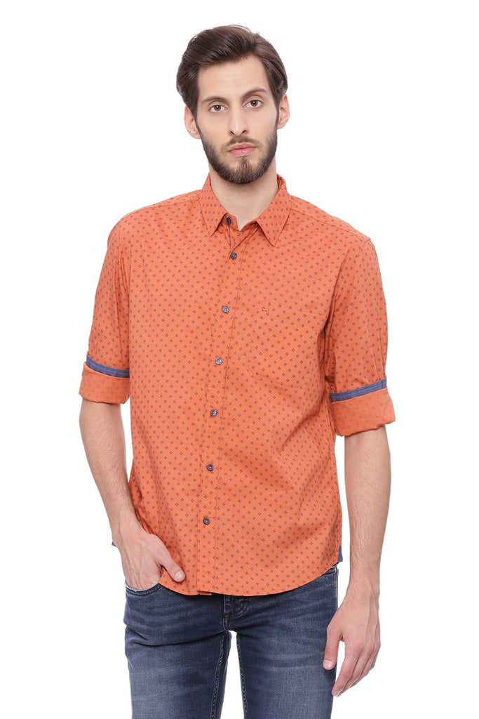 BASICS SLIM FIT RUST ORANGE PRINTED SHIRT-18BSH39238 (4491147608145)