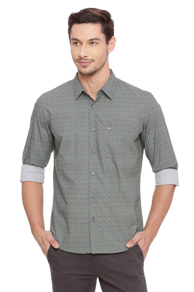 Basics Slim Fit Sage Green Shirt Front