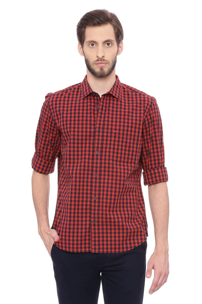 BASICS SLIM FIT SAGE RED CHECKS SHIRT-18BSH38750 (4491352571985)