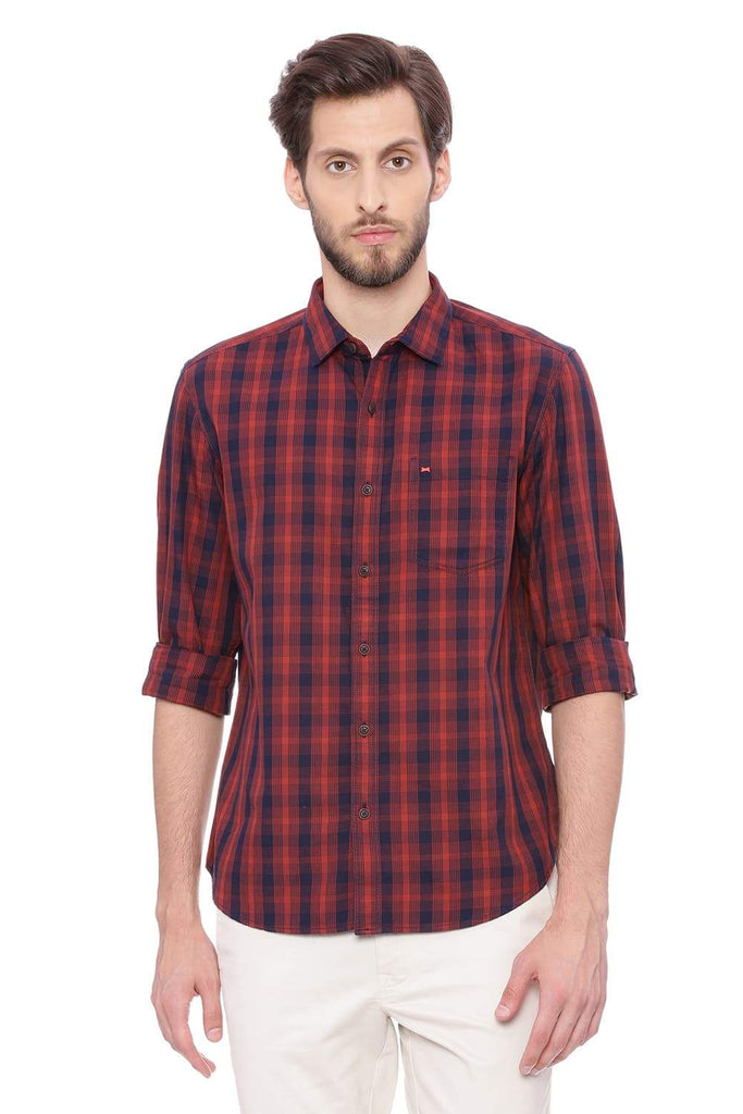 BASICS SLIM FIT SAGE RED CHECKS SHIRT-18BSH38807 (4491394547793)