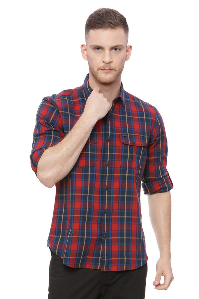 BASICS SLIM FIT SAMBA RED CHECKS SHIRT-18BSH37592 (4491076042833)