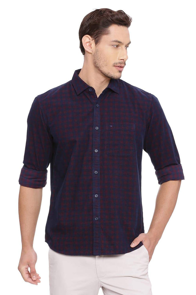 BASICS SLIM FIT SCARLET RED CHECKS SHIRT-18BSH38599 (4491252826193)