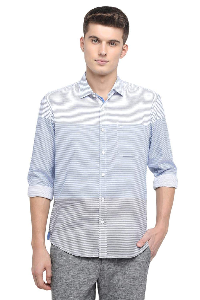 Basics Slim Fit Sea Blue Weft Stripes Shirt Front