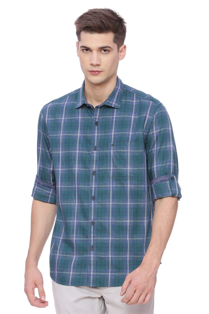 BASICS SLIM FIT SEA PINE GREEN CHECKS SHIRT-18BSH37728 (4491001364561)