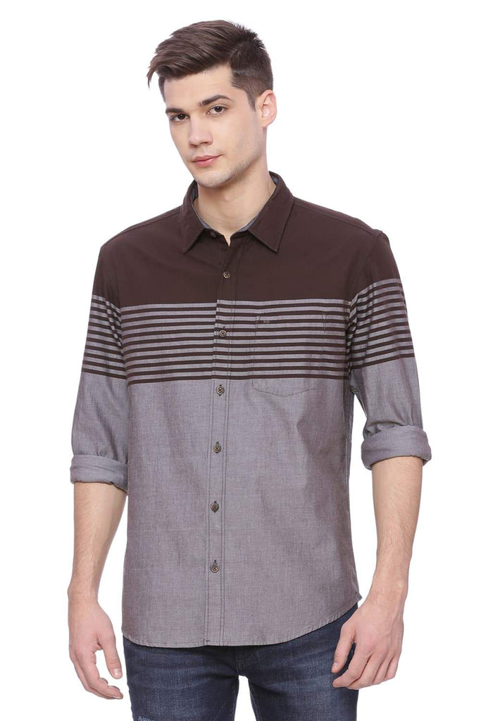 BASICS SLIM FIT SEAL BROWN ENGINEERED STRIPE SHIRT-18BSH37639 (4490999431249)