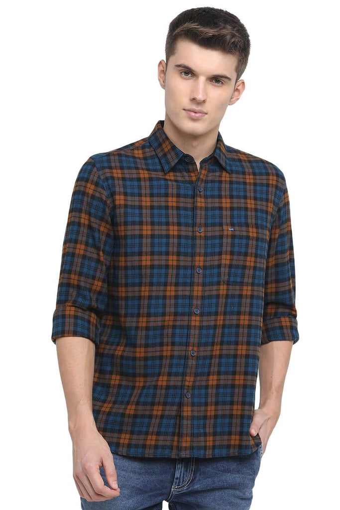 BASICS SLIM FIT SEAPORT TURQUOISE CHECKS SHIRT-18BSH38686 - BasicsLife