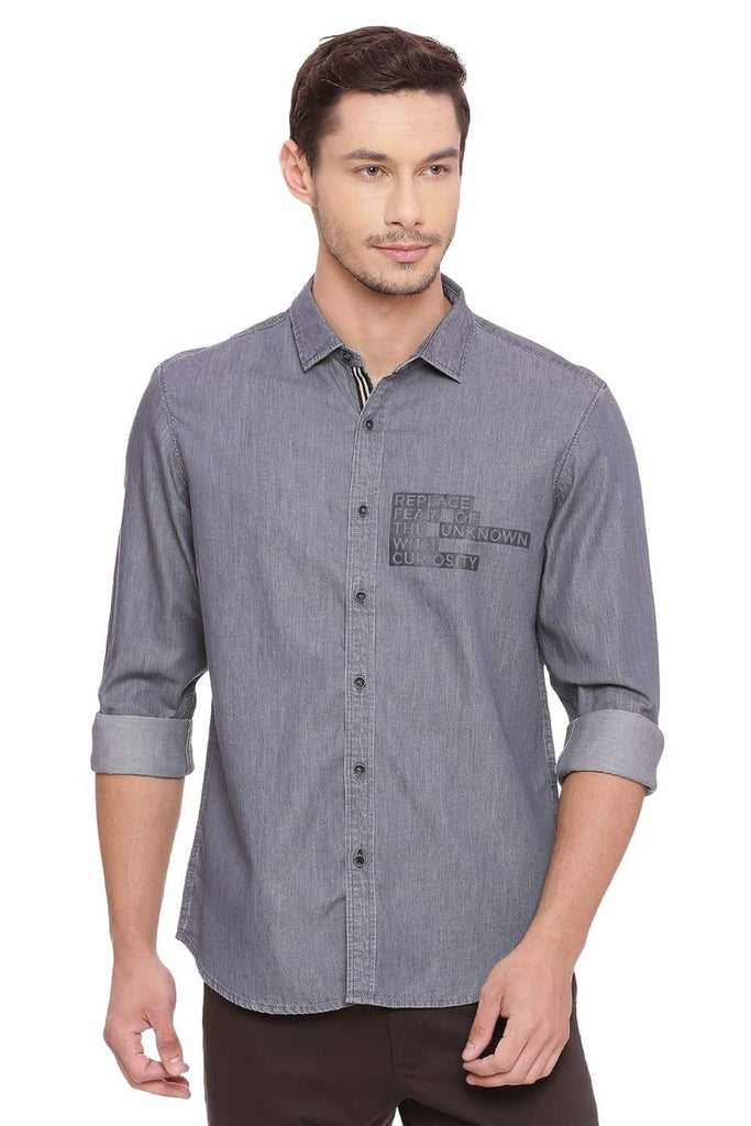 BASICS SLIM FIT SEDONA GREY SULFUR DENIM SHIRT-18BSH39088 (4491512741969)