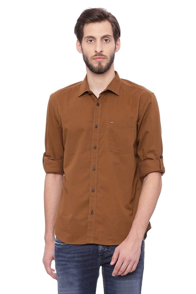 BASICS SLIM FIT SEPIA BROWN TWILL SHIRT-18BSH38860 (4491443568721)