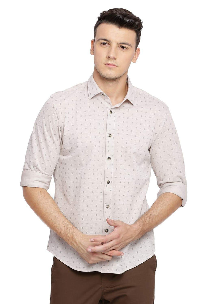 BASICS SLIM FIT SEPIA KNIT SHIRT-18BSH39536 (4491544821841)