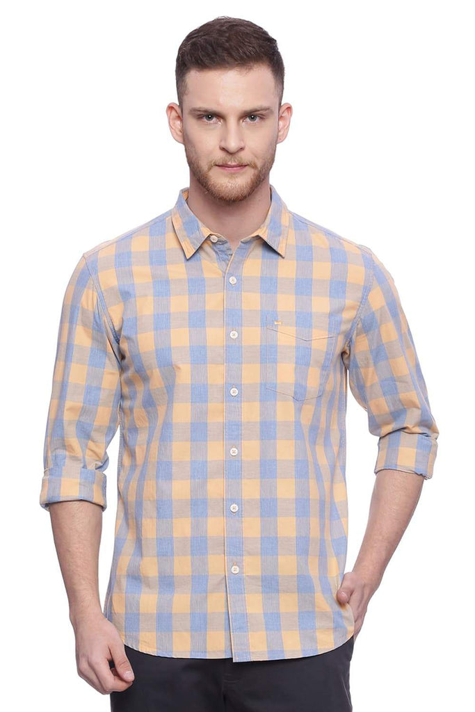 BASICS SLIM FIT SHEEP SKIN ORANGE CHECKS SHIRT-18BSH37607