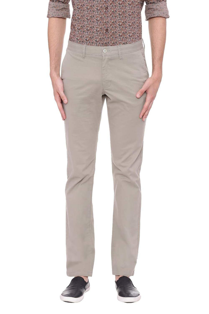 BASICS SLIM FIT SILVER SAGE STRETCH TROUSER-18BTR38989 (4491297259601)