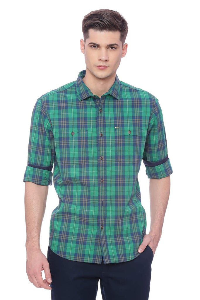 Basics Slim Fit Simply Green Checks Shirt Front
