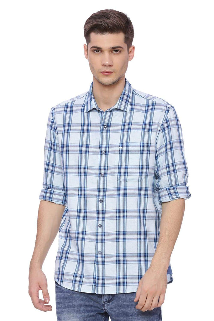 Basics Slim Fit Sky Light Blue Checks Shirt Front