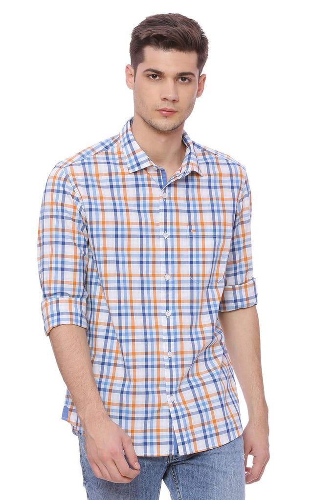 Basics Slim Fit Skyway Checks Shirt Front