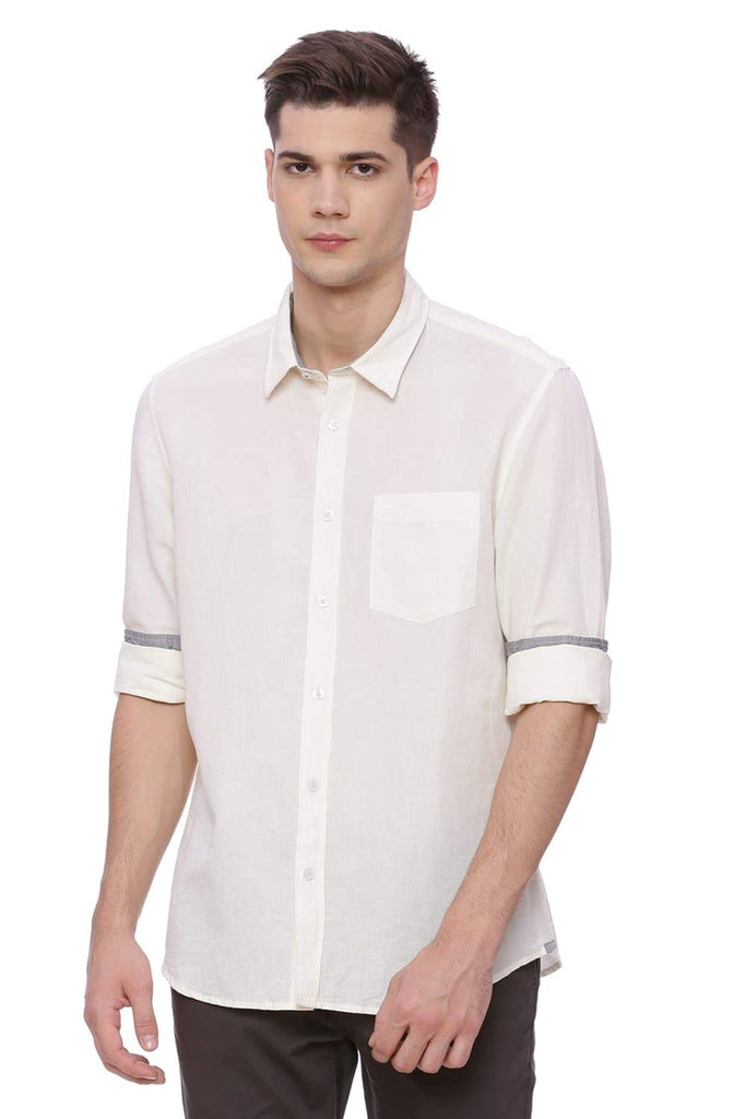 BASICS SLIM FIT SNOW WHITE COTTON LINEN SHIRT-18BSH37161 (4491031150673)