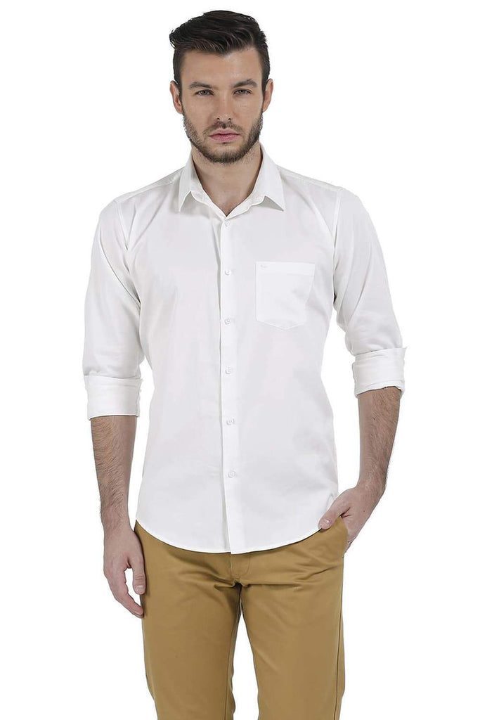BASICS SLIM FIT SNOW WHITE SATIN SHIRT-17BCSH38213 - BasicsLife