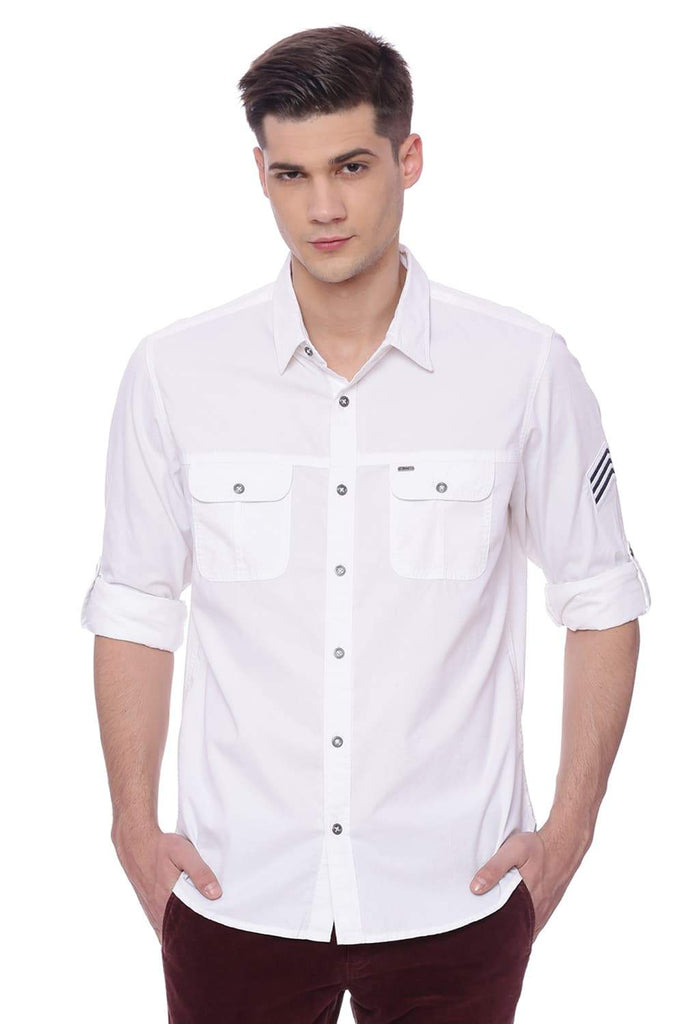 BASICS SLIM FIT SNOW WHITE TWILL SHIRT-18BSH37493 (4491073847377)