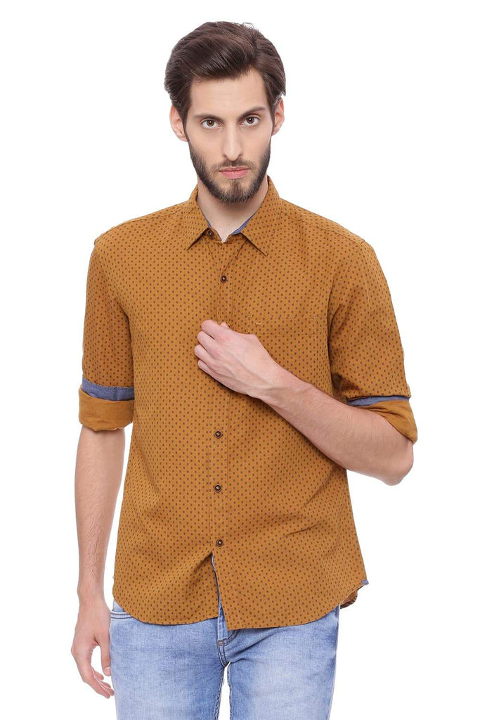 BASICS SLIM FIT SPRUCE KHAKI PRINTED SHIRT-18BSH39148 (4491524571217)