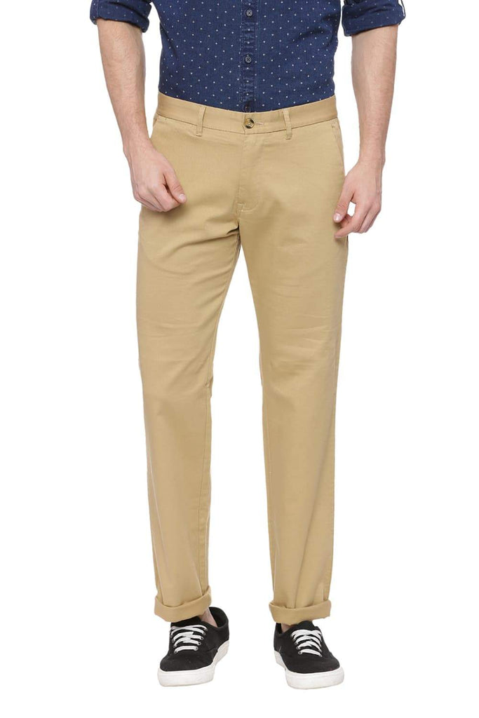 BASICS SLIM FIT STAR FISH KHAKI STRETCH TROUSER-18BTR37450 (4491098161233)