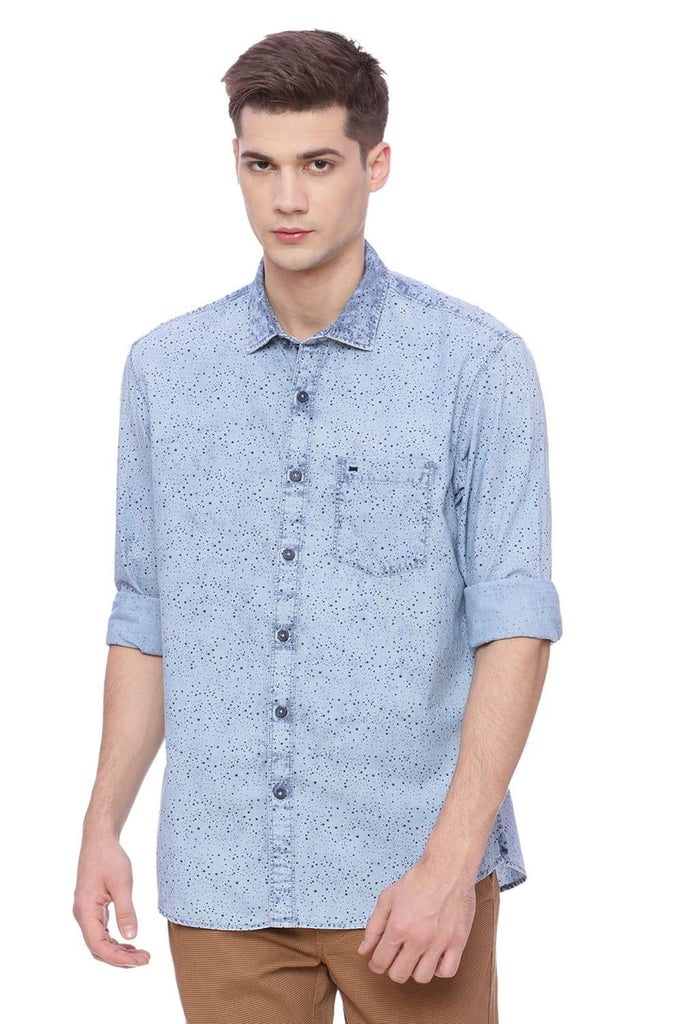 BASICS SLIM FIT STONE WASH INDIGO PRINTED SHIRT-18BSH37108 (4491043373137)