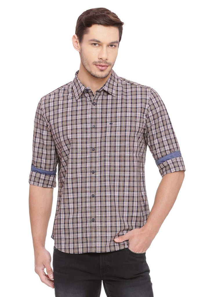 Basics Slim Fit Sundress Brown Checks Shirt Front