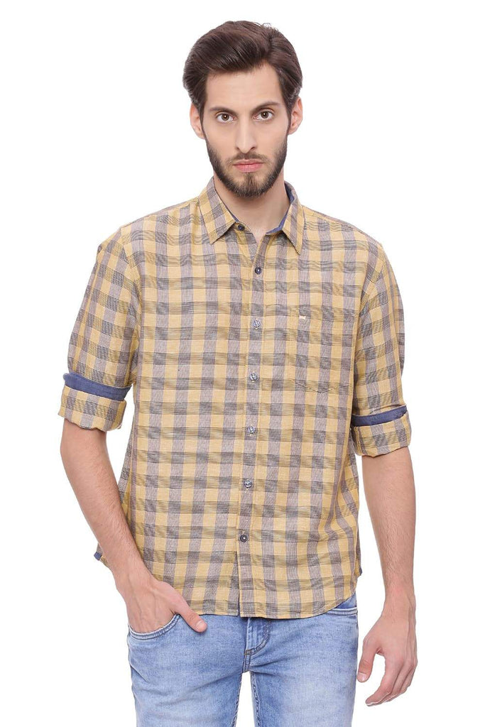 BASICS SLIM FIT TAFFY KHAKI CHECKS SHIRT-18BSH38571 (4491202134097)