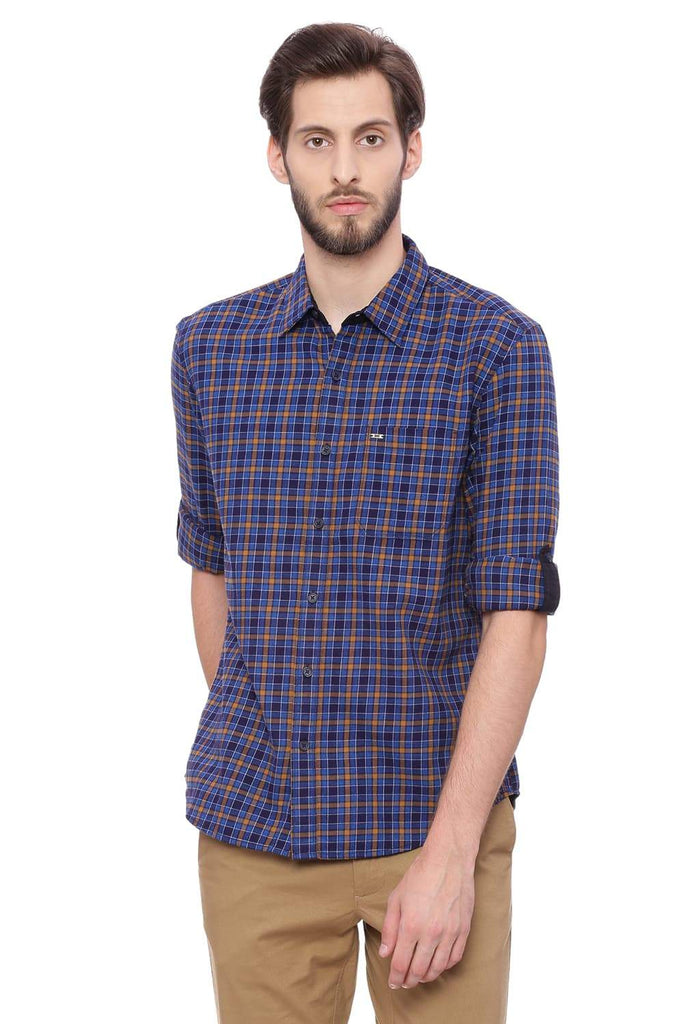 BASICS SLIM FIT TAN KHAKI CHECKS SHIRT-18BSH38689
