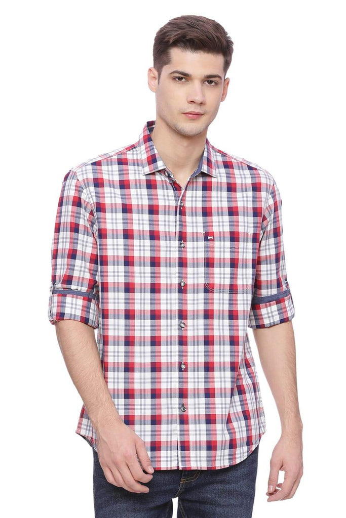 BASICS SLIM FIT TANGO RED CHECKS SHIRT-18BSH37422 (4491071258705)