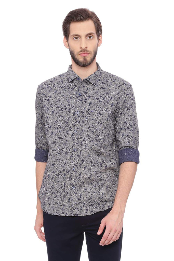 BASICS SLIM FIT TAPIOCA BEIGE PRINTED SHIRT-18BSH39210 (4491133026385)