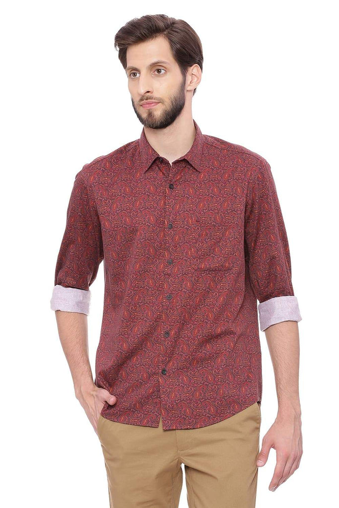 BASICS SLIM FIT TAWNY MAROON DIGITAL PRINTED SHIRT-18BSH39737 (4491247124561)