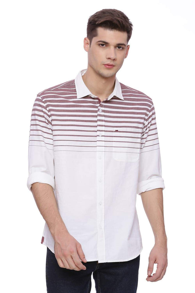 Basics Slim Fit Tawny Red Weft Stripes Shirt Front