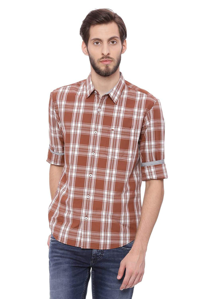 BASICS SLIM FIT THRUSH BROWN CHECKS SHIRT-18BSH38893 (4491461263441)