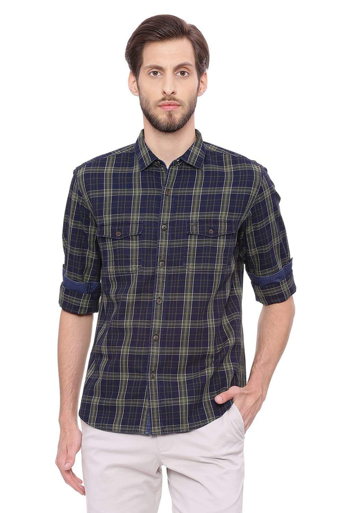 BASICS SLIM FIT THYME GREEN CHECKS SHIRT-18BSH38579 (4491233427537)
