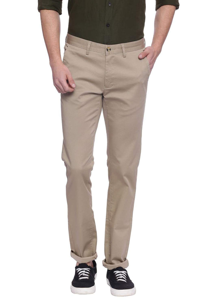 BASICS SLIM FIT TIDAL FOAM KHAKI PRINTED TROUSER-18BTR38352 (4491009753169)